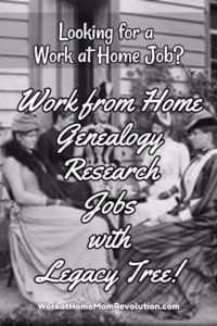 Legacy Tree Hiring Home-Based Genealogy Researchers