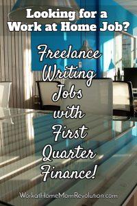 freelance writing jobs First Quarter Finance