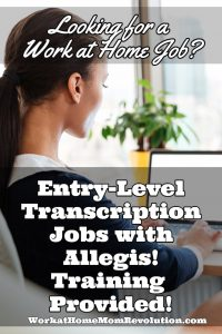 entry-level work at home transcription jobs with Allegis