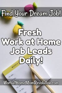 fresh work at home job leads daily pin