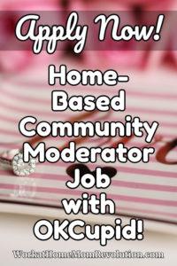 home-based community moderator job OkCupid