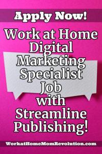 work at home digital marketing specialist job