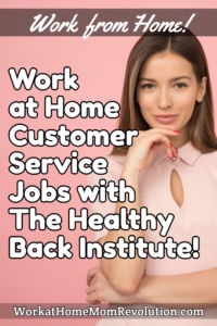 work at home customer service jobs The Healthy Back Insitute